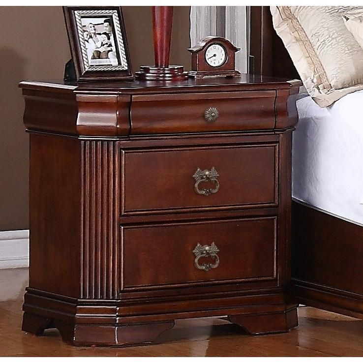 Home Decor Furniture And Decorators Kensworth 3 Drawer Nightstand Cherry Wood Furniture Drawer Nightstand Dresser As Nightstand