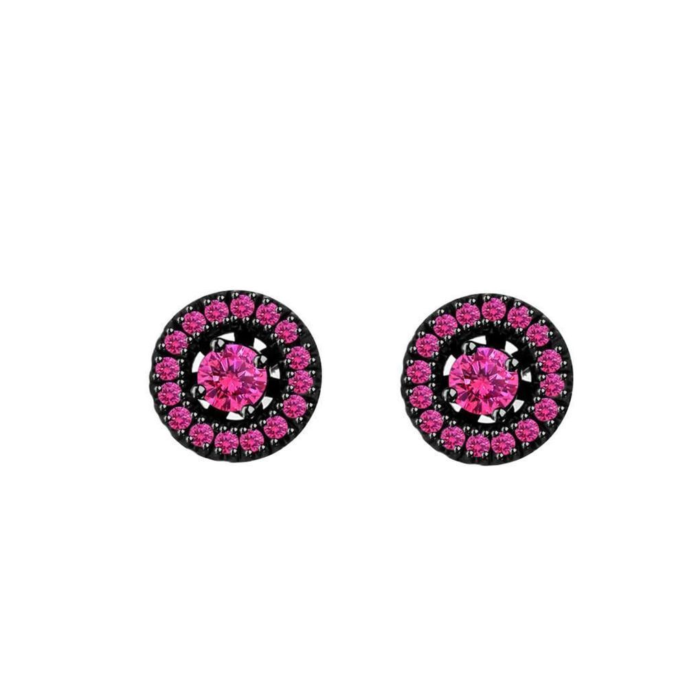 070 Ct Created Pink Sapphire Sterling Silver Halo Stud Earrings Msrp $1500  New