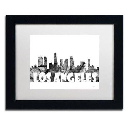 "Trademark Art ""Los Angeles CA Skyline BG-2"" by Marlene Watson Framed Graphic Art Size: 11"" H x 14"" W x 0.5"" D"