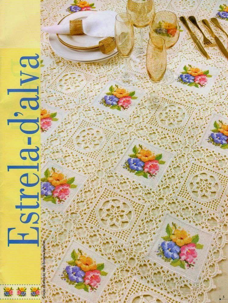 Bellísimo mantel con cuadros al crochet | manteles e individuales ...