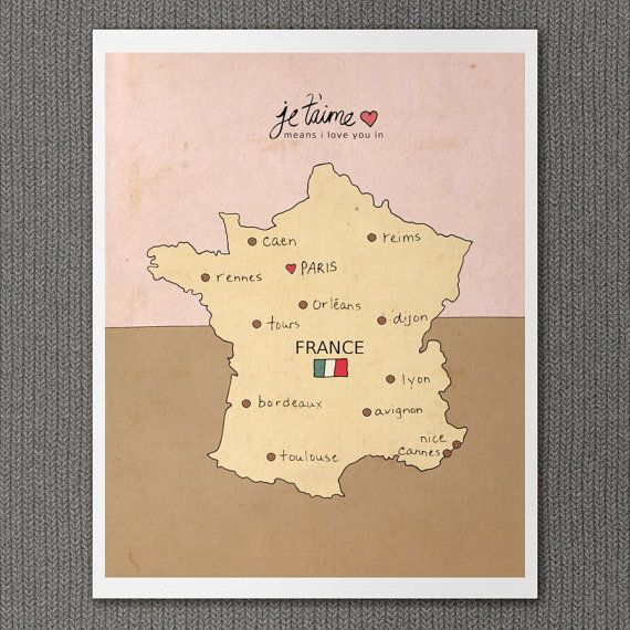 I Love You in France 8x10 / French Map Typography by LisaBarbero, $20.00
