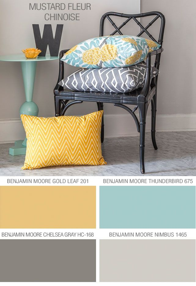Grays with mint and yellow accents and white furniture. A couple ...