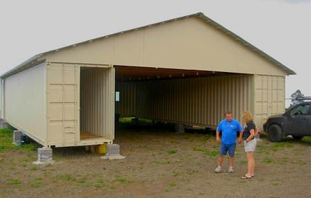 3 Shipping Container BARN/HOME was built with one container for living  quarters, 2 for storage & huge barn/garage & OTHER DESIGNS