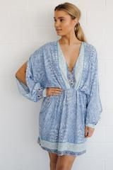 alissa short drape dress-blue print - XS