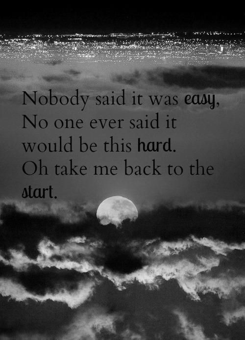 Nobody Said It Was Easy Song Quotes Music Quotes Sayings