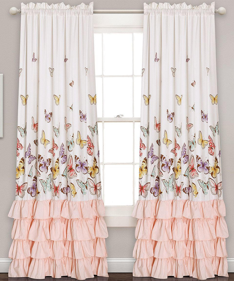 Pink Bedroom Curtains White Pink Ruffle Accent Butterfly Curtain Panel Set Of Two