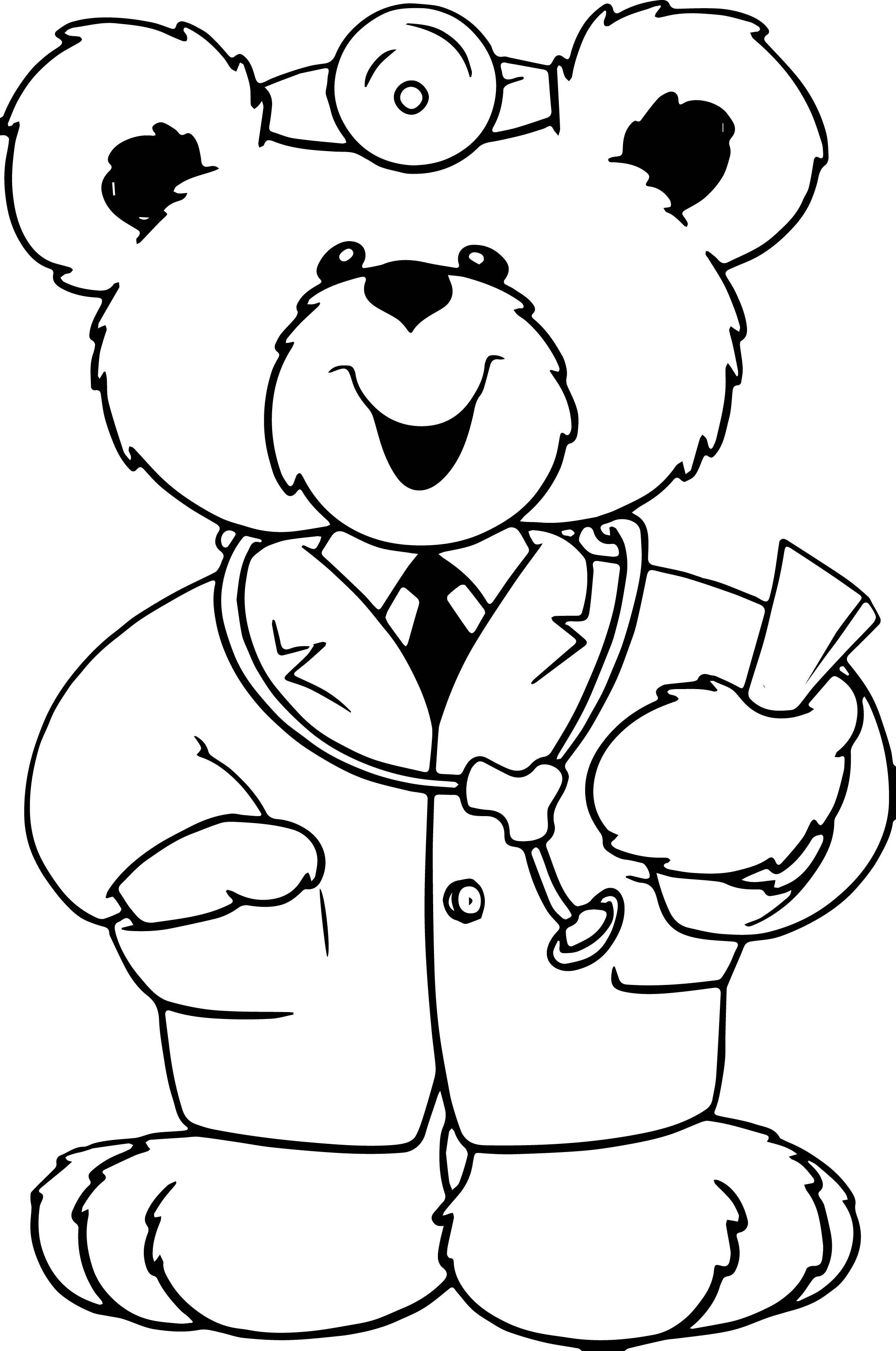 Awesome Cute Doctor Bear Coloring Page