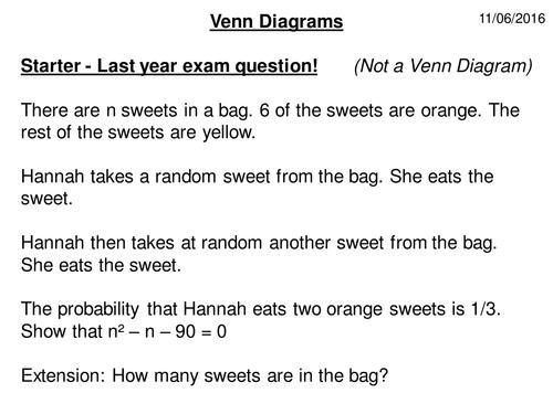 2 Set Venn Diagram Wowopptx Maths Statistics And Data Handling