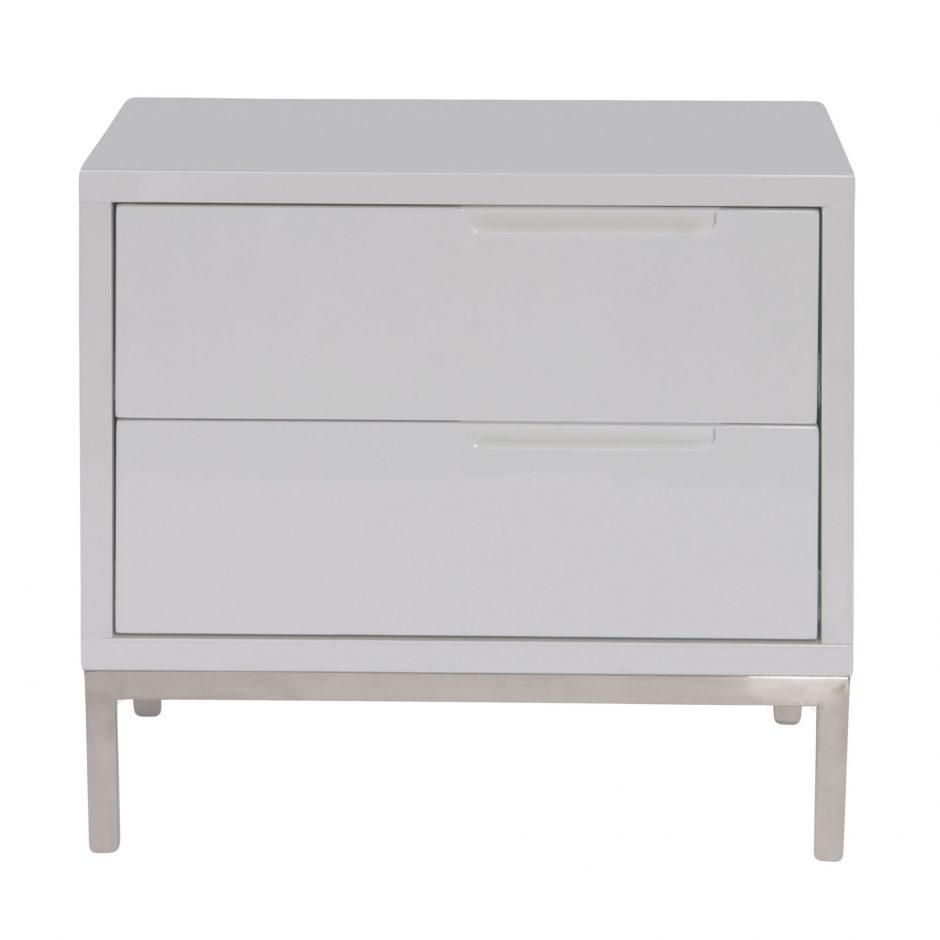 Jeannot High Gloss Nightstand Contemporary Grey Or White