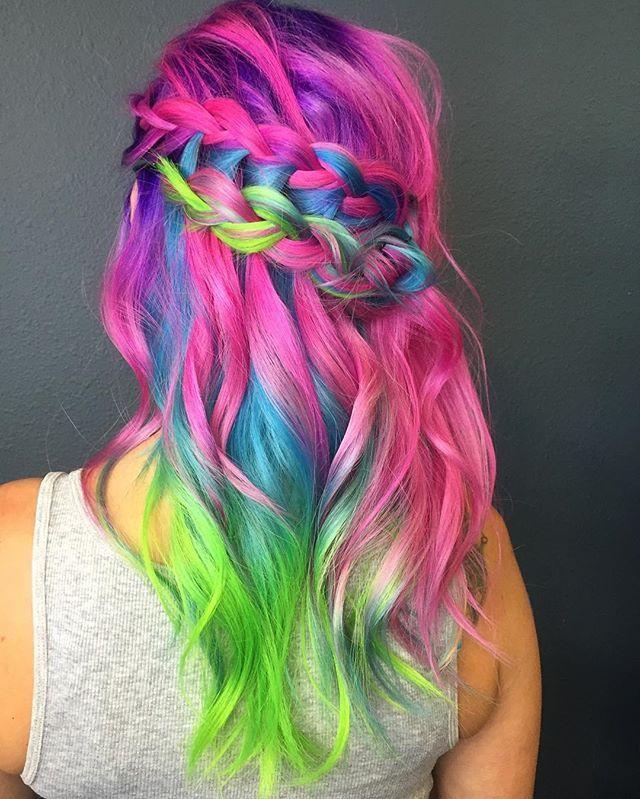 Mermaid Rainbow Hair Love Pink Purple Green Blue Curly Braid Perfect N E O N Beehivesandbowties Braided By The L Rainbow Hair Vivid Hair Color Hair Styles