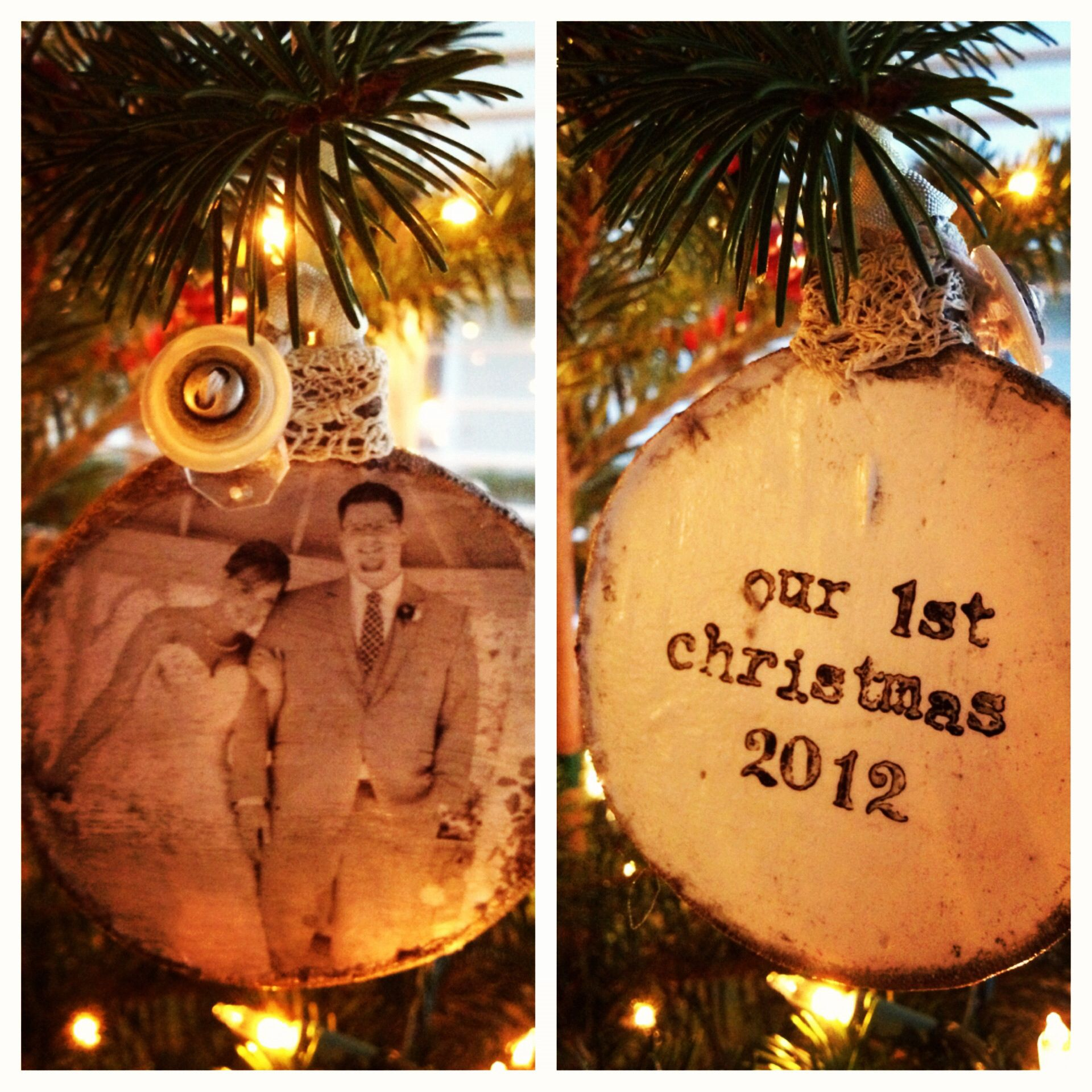 Diy christmas ornaments for newlyweds - Diy Mod Podge Ceramic Christmas Ornament Firstyear Newlywed Firstchristmas