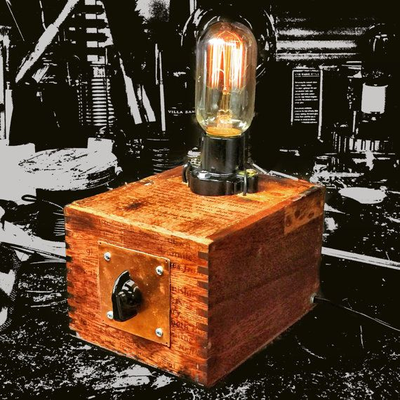 Cigar Box Lamp With Dimmer And Squirrel Cage By MirthAndLaughter