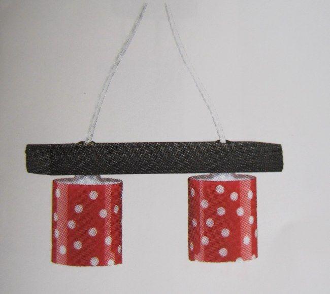 Puppenhaus Hängelampe Pendelleuchte Schirm rot mit Punkten - barbie wohnzimmer möbel