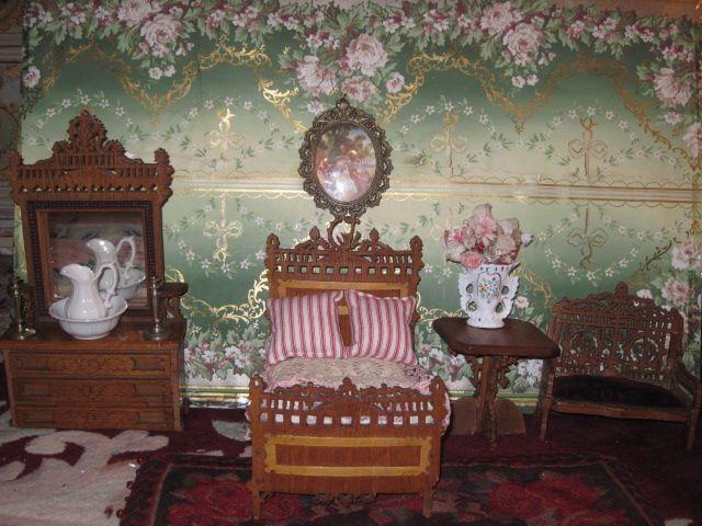 RARE Four Piece Antique Miniature Wooden Doll Bedroom Suite