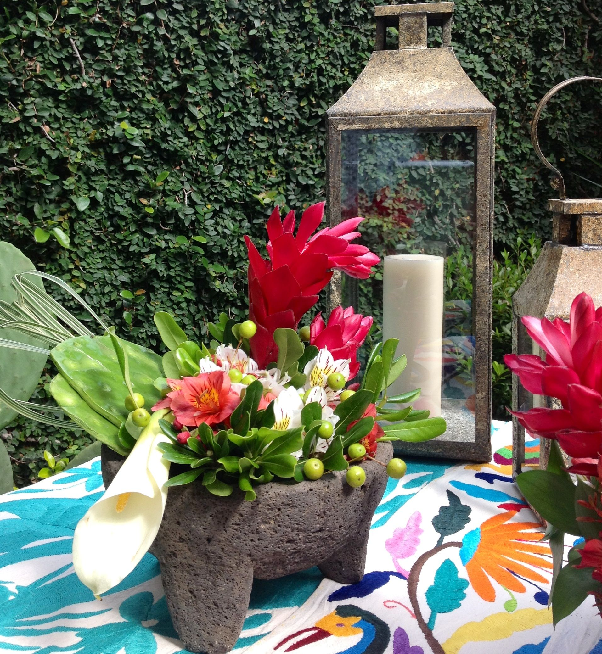 Party Decorations Table Centerpieces: Flower Molcajete, Oaxacan Table Runners. Ready For Mexican