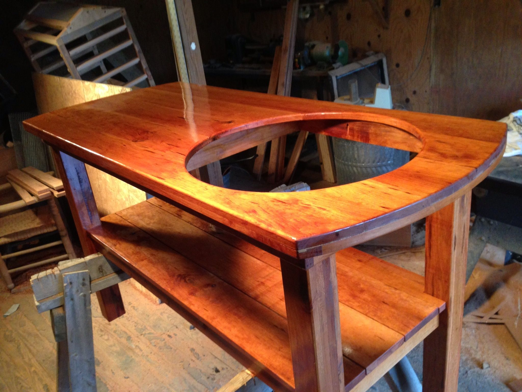 Cherry wood table lots of pics big green egg outdoor