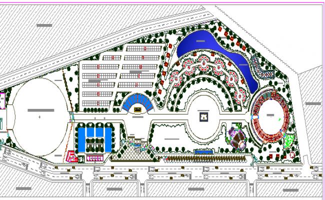 Exhibition Center Landscaping Details With Structure Dwg File Landscape Exhibition Car Parking
