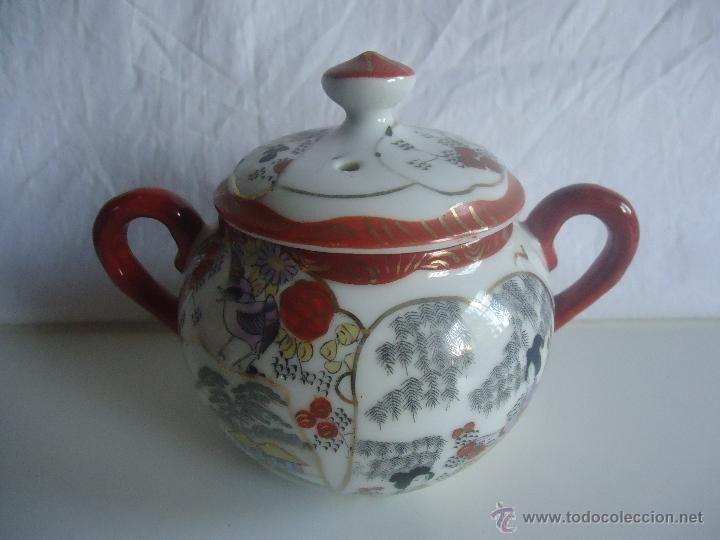 azucarero en porcelana china- pintada a mano- juego de café japonés- oriental