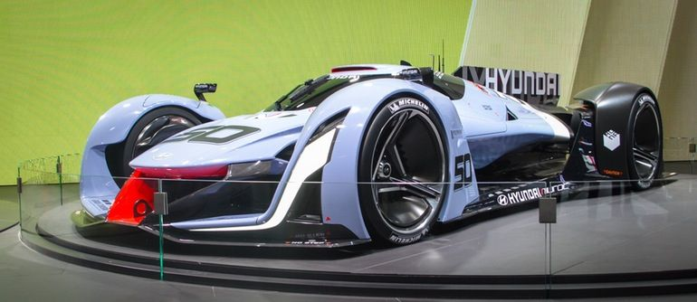 The N 2025 Vision Gran Turismo video game car is powered by four in-wheel motors