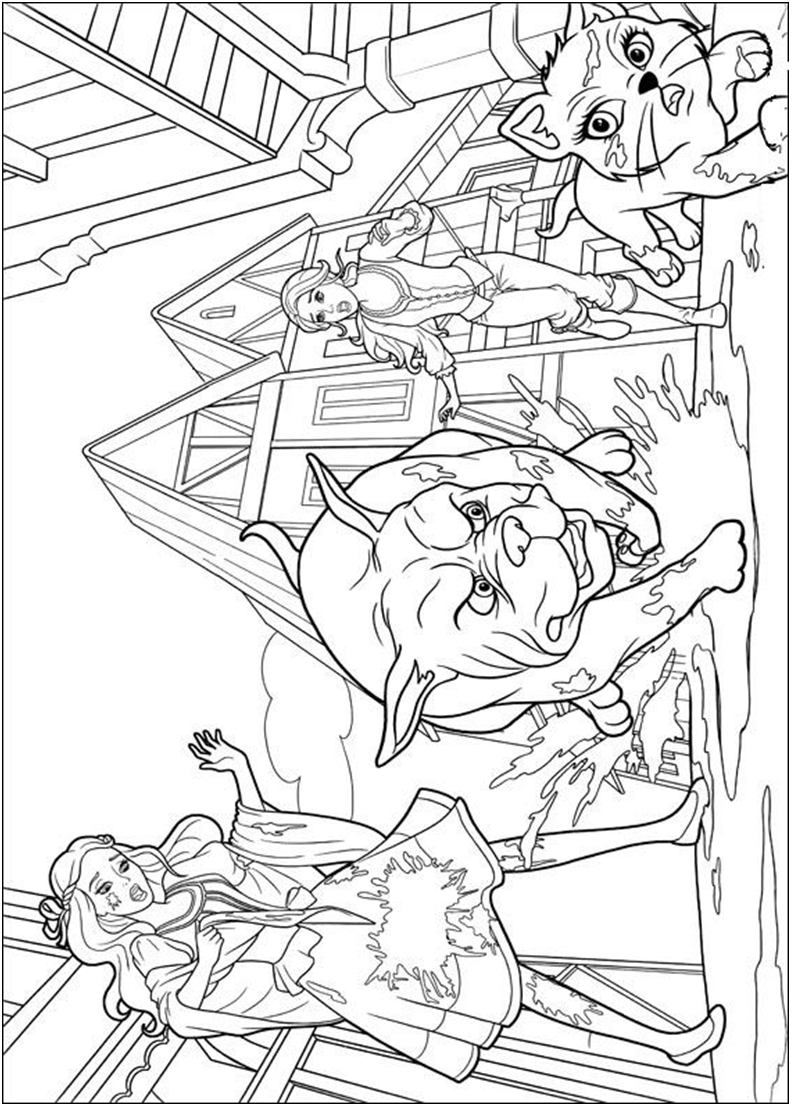 Barbie three musketeers coloring page