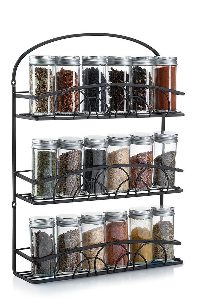 Francois Et Mimi Mountable Spice Rack And Holder Black
