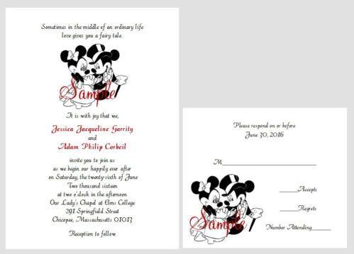 100 Personalized Custom Disney Mickey and Minnie Cute 2 Wedding ...