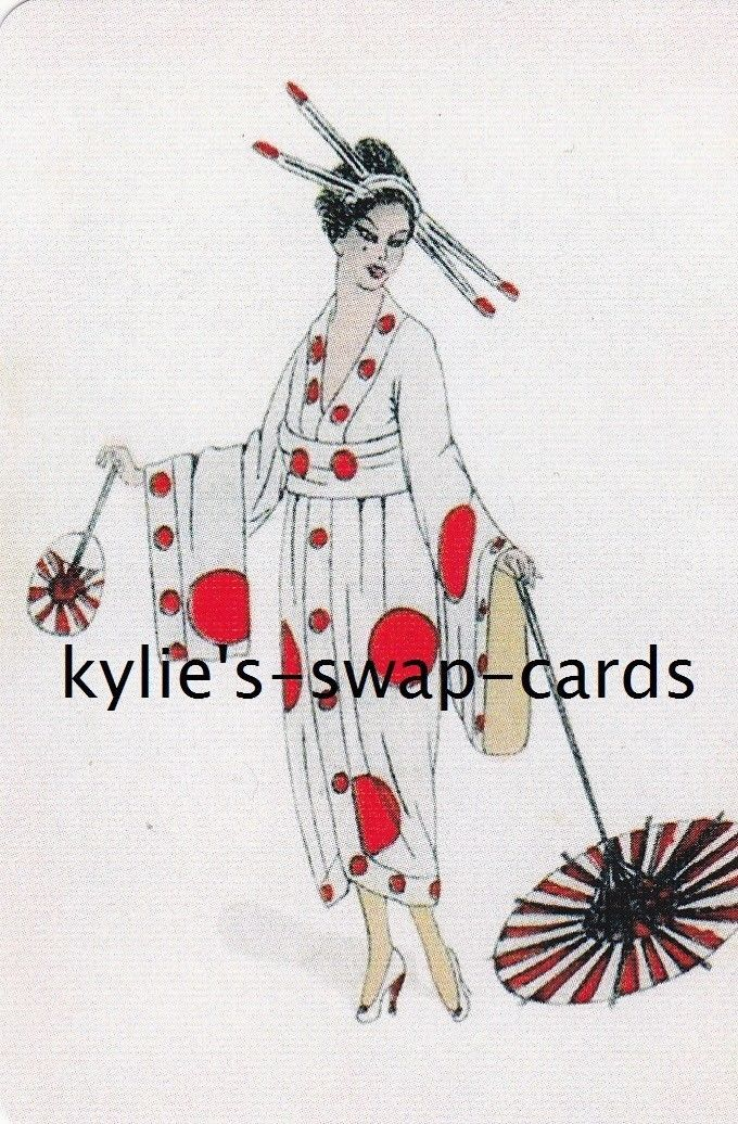 SD22 Pretty Lady Swap Playing Cards Mint Condition Japanese Geisha Linen | eBay