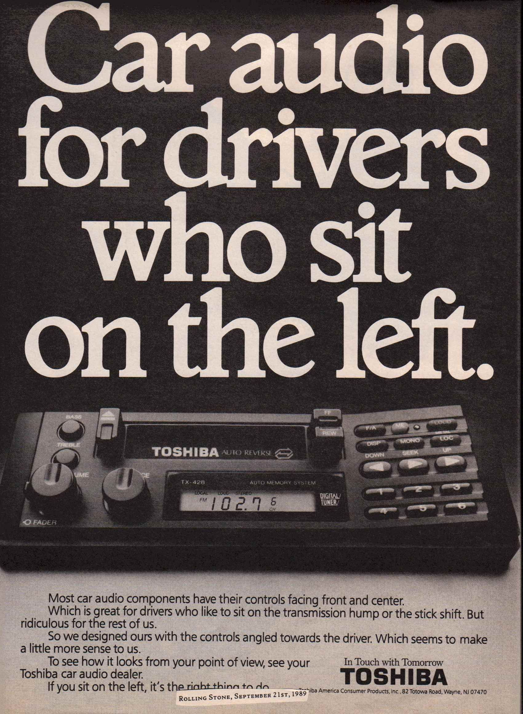 1989 Toshiba Tx 428 Car Stereo Ad Rolling Stone September 21