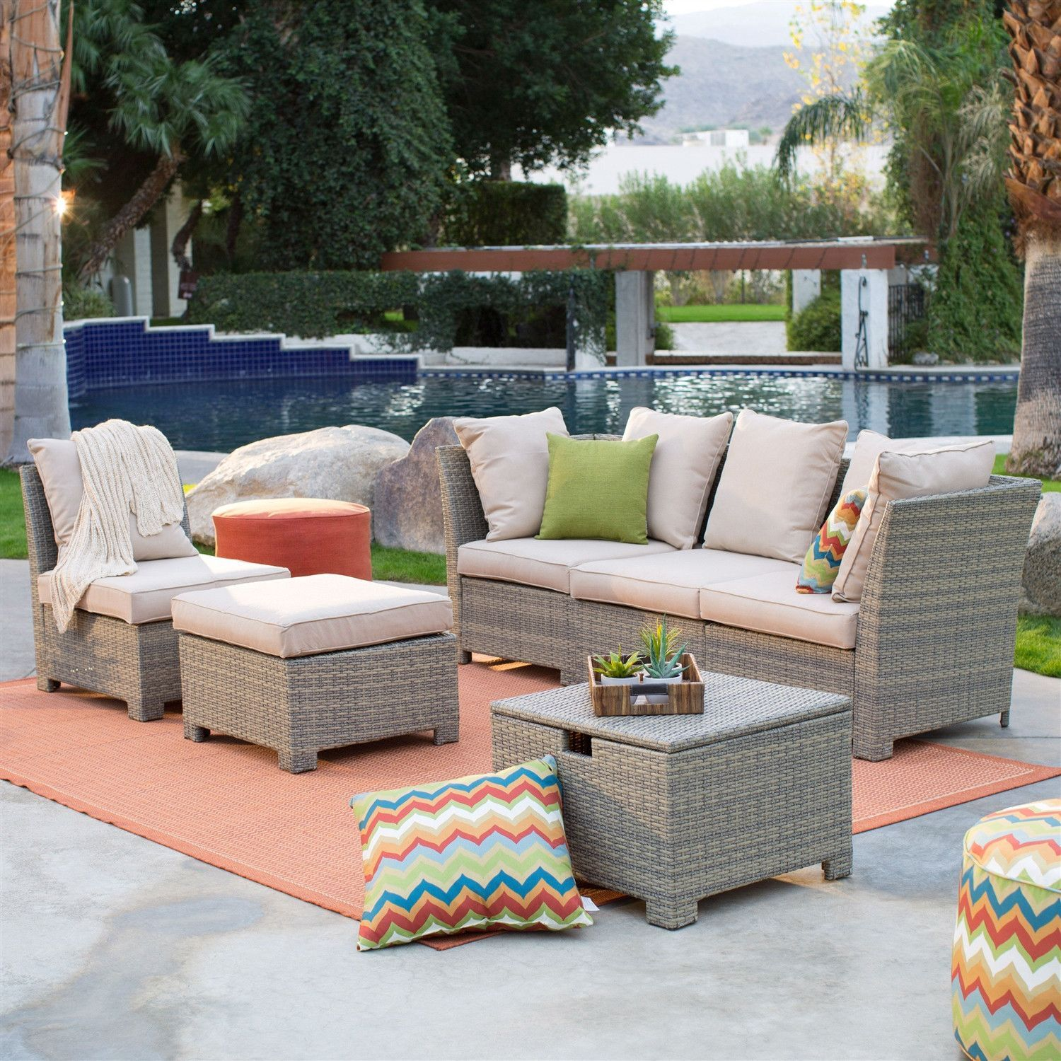 Natural Outdoor Wicker Resin Patio Furniture Conversation