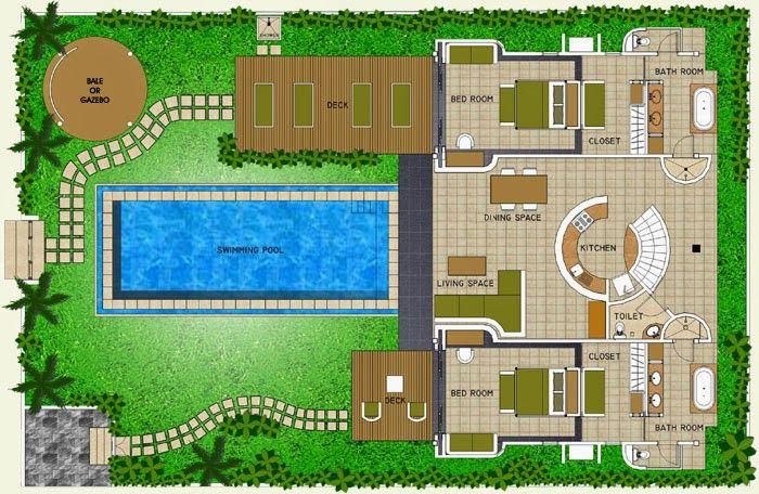 3d Floor Plan Bungalow Swimming Pool Google Search Floor Plans Building Plans Classic House Design