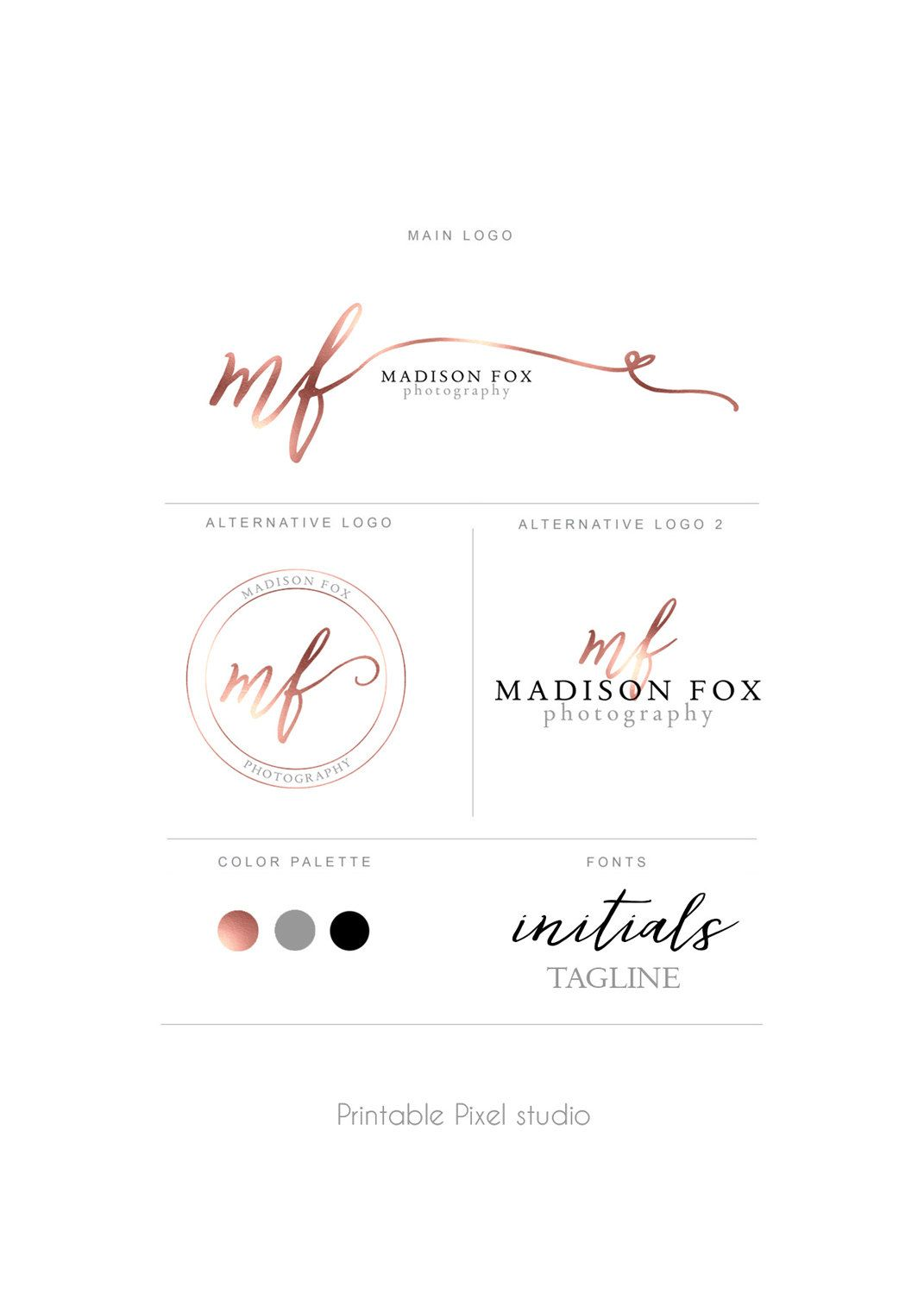 Branding Package Brand Identity Photography Logo Rose Wedding