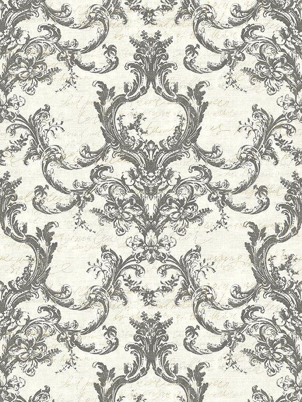 Tapete Designtapete Floral Ranken Ecru Silber Gold Asche
