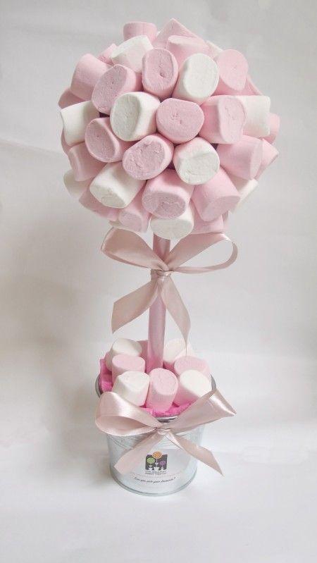 Pink White Marshmallow Christening Sweet Tree Centros De