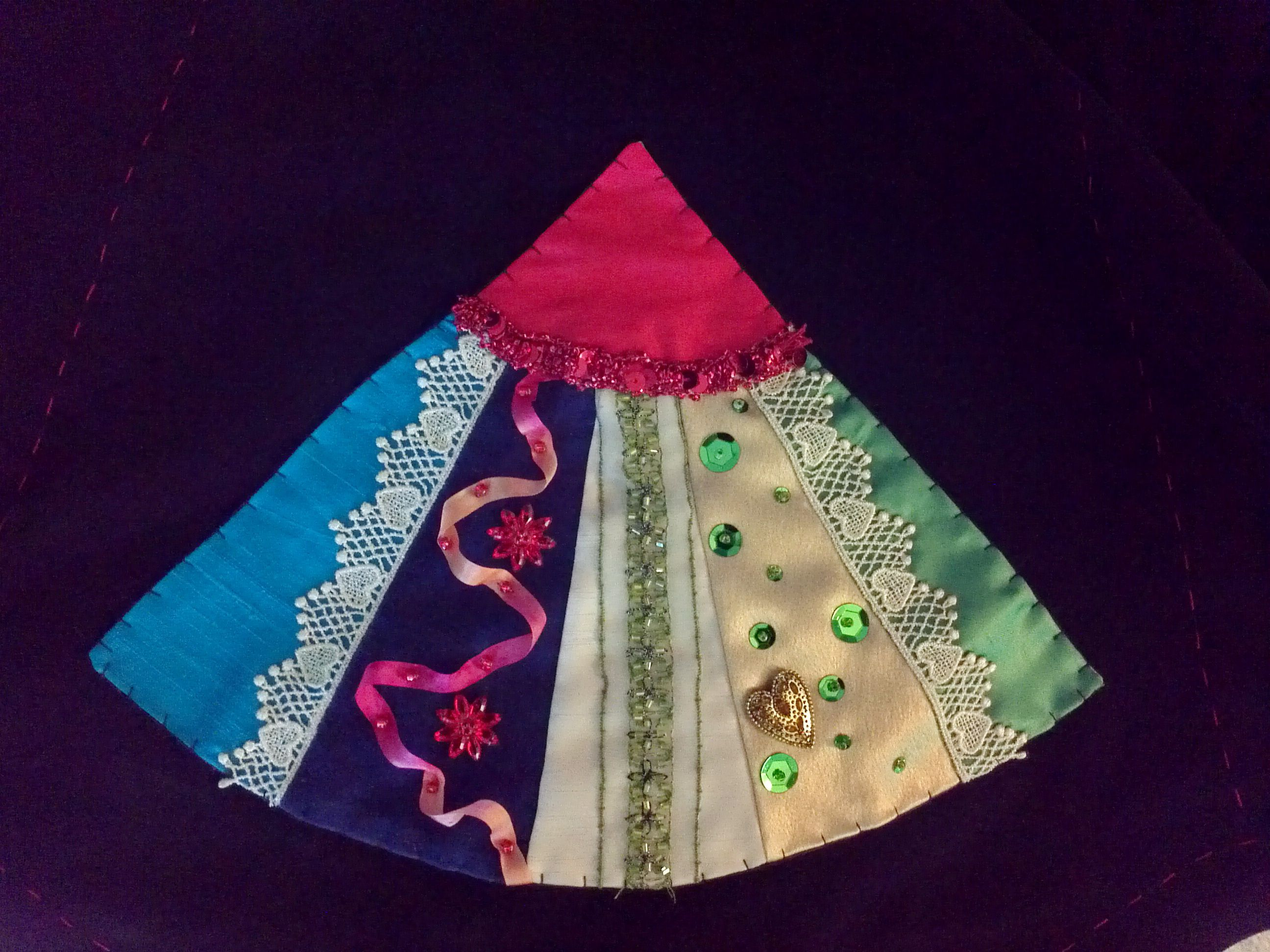 Crazy Quilt Christmas Tree Skirt Grandmothers Fan Fan 9 By