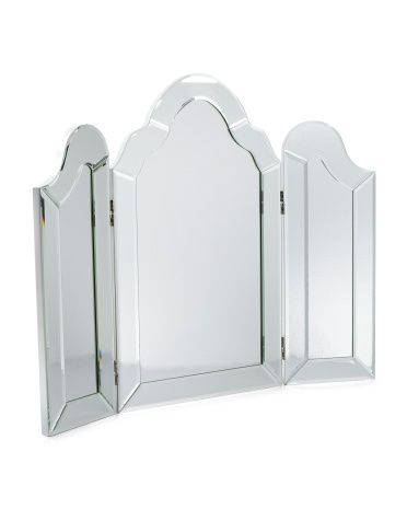TAHARI Cut Glass Folding Table Mirror $79.99 Silver And Clear Folding Table  Mirror, Cutting Glass Edge, Hinged 30in W X 24in H Style #:1000147522
