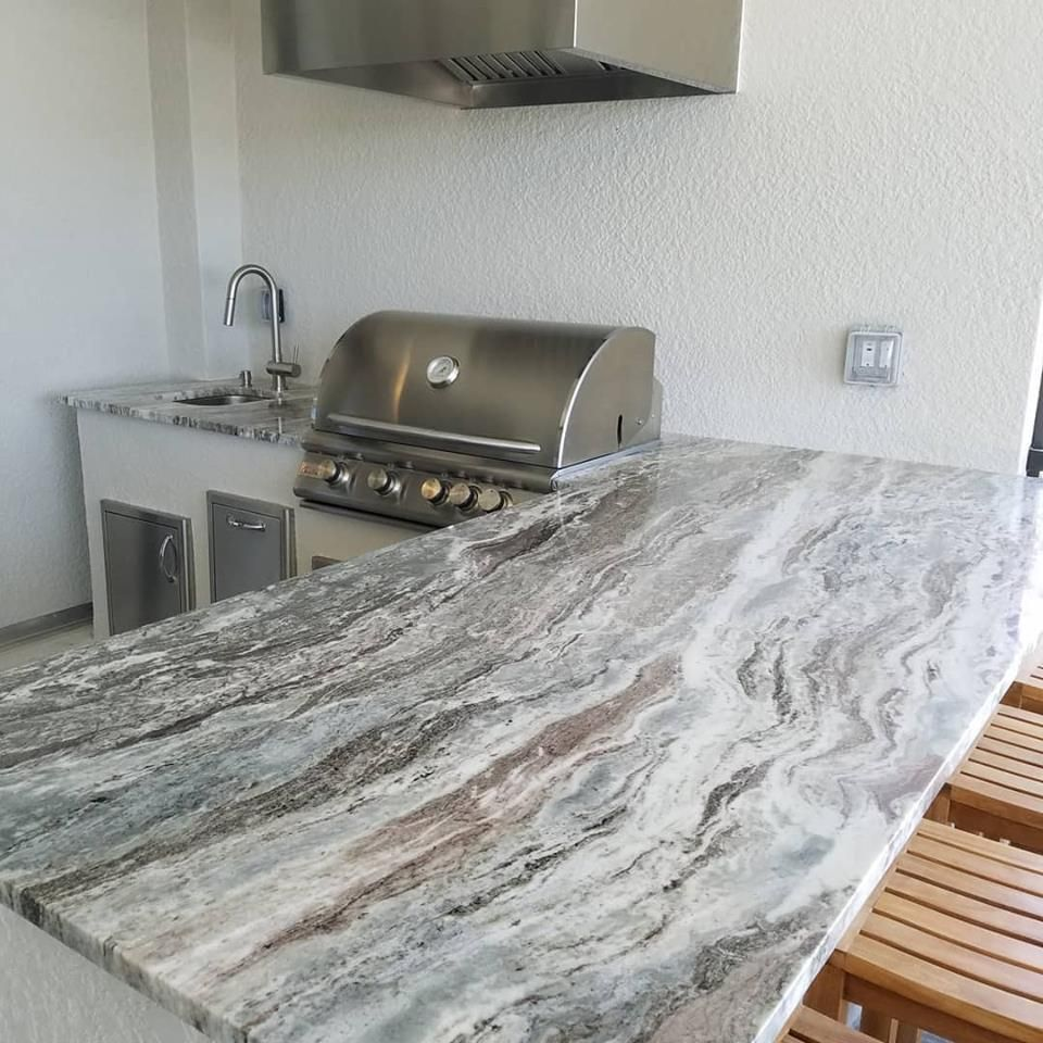 A Clean Coastal Looking Barbecue Island Design Outdoor Kitchen Island Design Taylor Morrison Homes