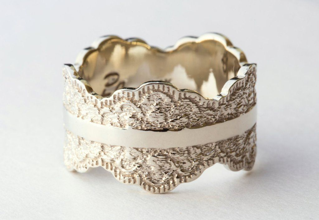 This unique made-to-order scalloped gold ring is crafted with a beautiful lace pattern and measures approximately 12 mm wide. When placing your order, please ch