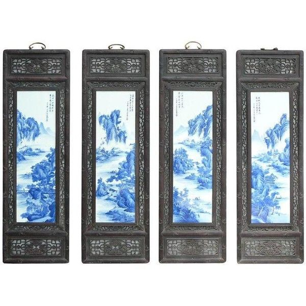 chinese blue white porcelain panel set painting 1 980 liked on