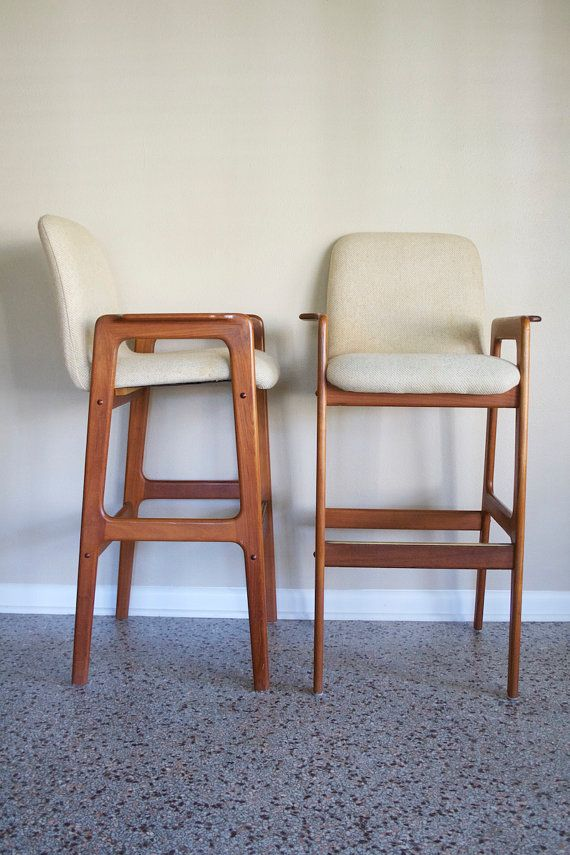 Pair Of Danish Modern Teak Bar Stools Vintage Benny