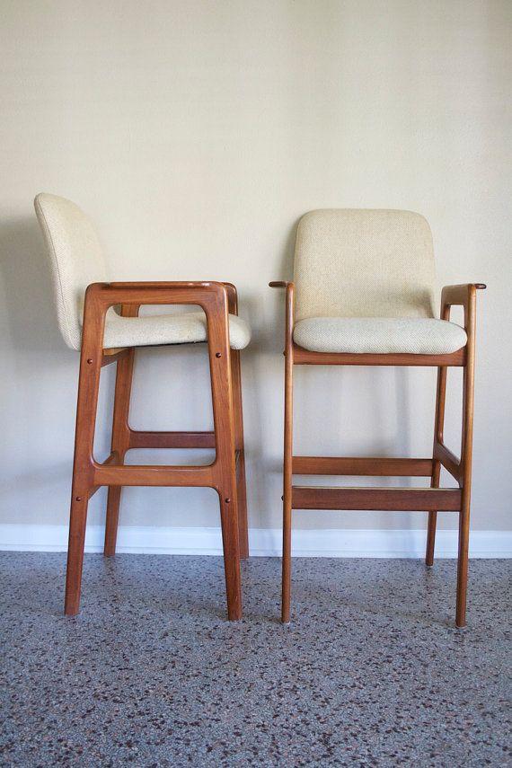 Pair Of Danish Modern Teak Bar Stools (TWO PAIR AVAILABLE)   Vintage Benny Linden  Teak Bar Stools   Original Ivory Tweed Upholstery