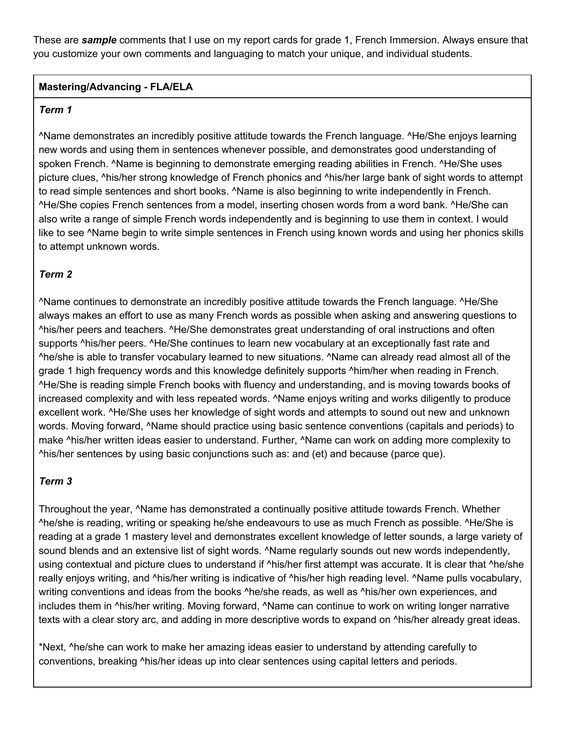 Image result for sample end of year report card comments Report - assessment sample