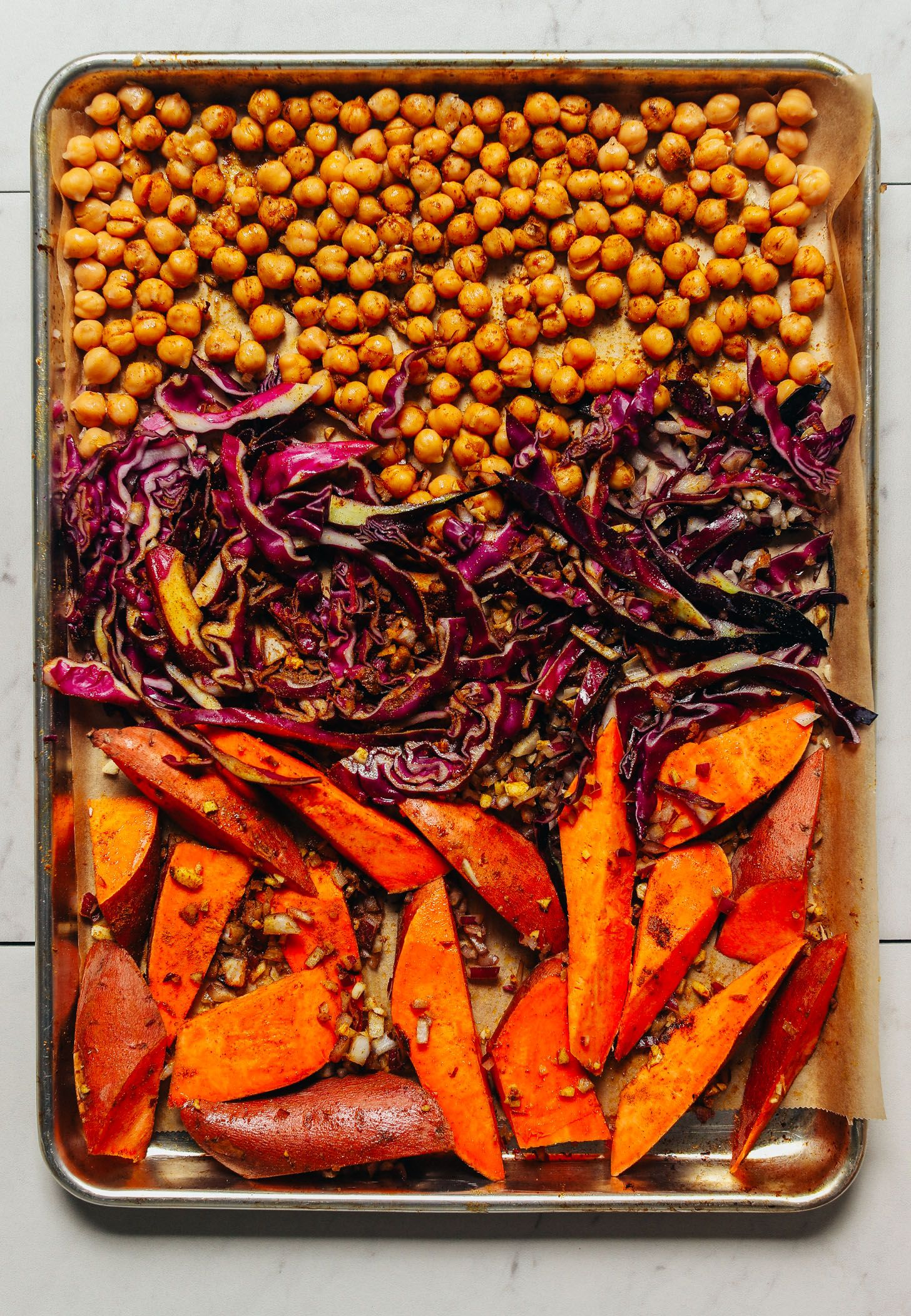 Sheet Pan Meal Curried Sweet Potato Chickpeas Minimalist Baker Recipes Recipe Sheet Pan Recipes Recipes Easy Cooking Recipes