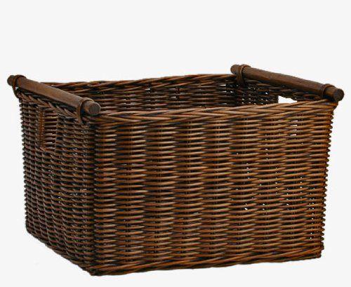 The Basket Lady Deep Pole Handle Wicker Storage Basket M Antique Walnut Brown The & The Basket Lady Deep Pole Handle Wicker Storage Basket M Antique ...