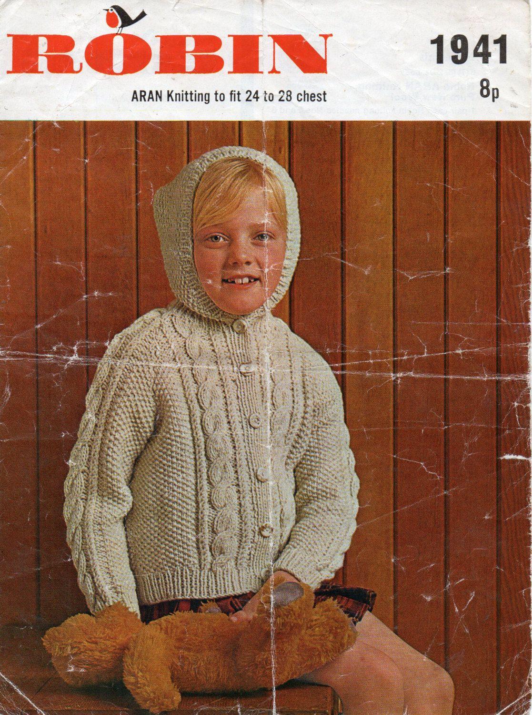 Childrens hooded aran cardigan knitting pattern aran jacket with ...
