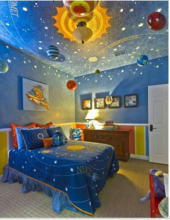 Boys Room Universe Theme Creative Kids Rooms Cool Bedrooms