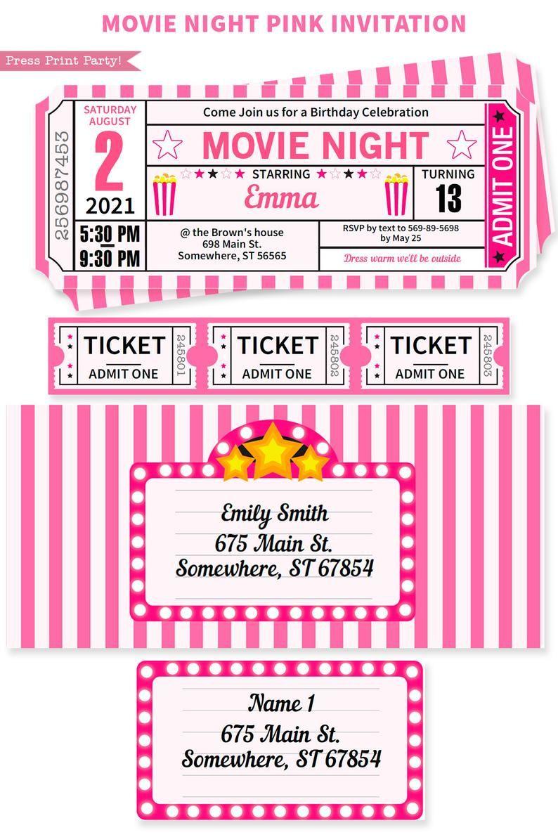 Movie Party Decor Printables Pink Movie Night Invitation Etsy Movie Night Invitations Movie Night Birthday Movie Night
