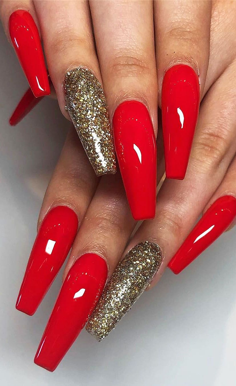 Red Acrylic Nail Designs In Polished And Matte Shades Picture 11 Red Nails Glitter Red Acrylic Nails Red And Gold Nails