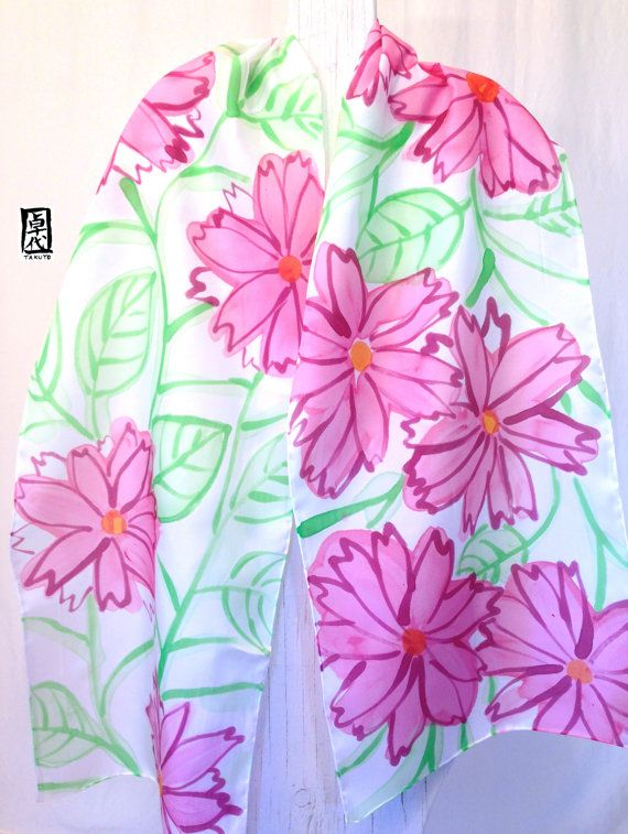 Hand Painted Large Silk Scarf Pink Spring por SilkScarvesTakuyo