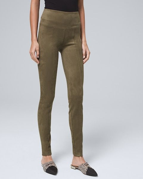 Introducing the WHBM Runway Legging. We mixed high comfort with high fashion for a pair of leggings that will have you looking and feeling like you just walked off the runway, no matter where you're headed (or not). Designed with a wide waistband and feel-good stretch for that extra comfort we're all looking for right now. Plus, this pair is crafted in a sumptuous faux-suede fabric that washes like a dream. Faux suede WHBM Runway Leggings Pull-on silhouette with wide waistband Interior waistband