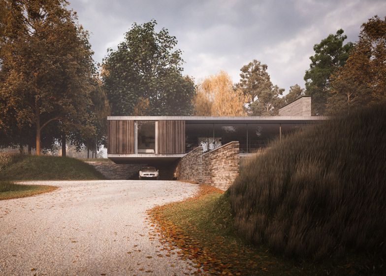 Strom architects designs a cantilevered house hanging over a wall exterior rendering